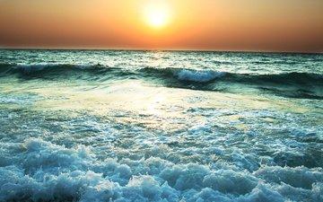 the sun, wave, sunset, horizon, the ocean