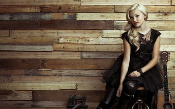 girl, blonde, guitar, look, hair, face, actress, singer, black dress, olivia holt
