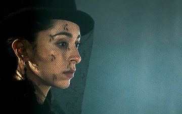 girl, look, profile, face, actress, hat, the series, veil, oona chaplin, taboo