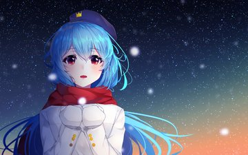 girl, look, anime, hair, face, snowfall