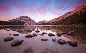clouds, lake, mountains, sunrise, stones, shore, landscape, dawn, bay, usa, twilight, ca, yosemite national park, yosemite valley