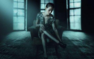 girl, pose, the film, kristen stewart, room, legs, face, chair, actress, sitting, personal shopper