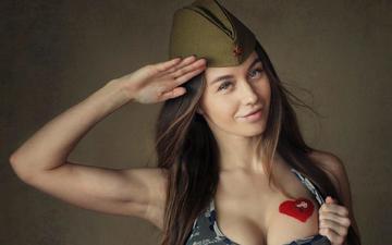 girl, smile, look, model, hair, face, neckline, pussy, olga, sean archer, olga katysheva