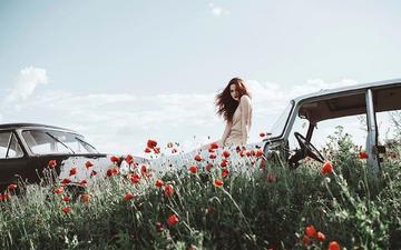 небо, цветы, облака, девушка, взгляд, маки, авто, модель, волосы, лицо, poppy, jovana rikalo