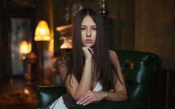 девушка, портрет, брюнетка, взгляд, длинные волосы, catherine timokhina, екатерина тимохина, максим максимов