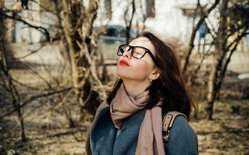 trees, girl, mood, portrait, branches, glasses, model, coat, closed eyes