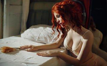 девушка, модель, профиль, нижнее белье, рыжеволосая, dmitry borisov