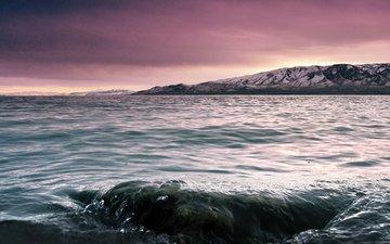 небо, облака, озеро, горы, природа, байкал