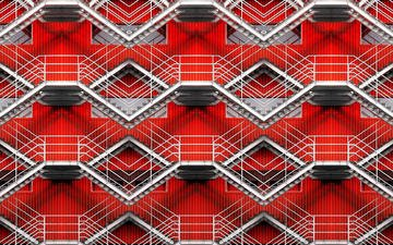 steps, wall, the building, stairs, facade, red labyrinth, alfon no
