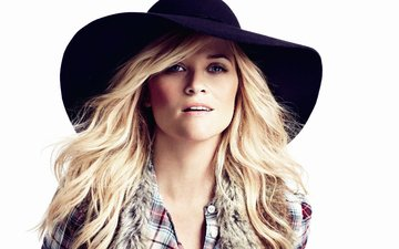 girl, blonde, portrait, look, actress, white background, hat, reese witherspoon, reese witherspoon. reese witherspoon