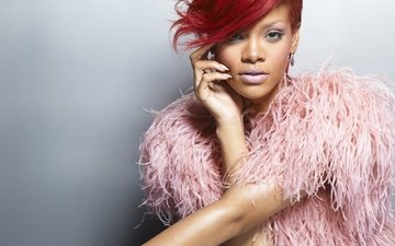 girl, portrait, look, lips, face, singer, makeup, fur, rihanna, celebrity, red hair