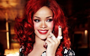 smile, portrait, face, singer, makeup, hairstyle, rihanna, celebrity, red hair