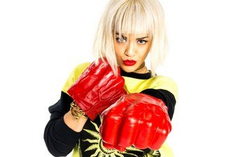 girl, blonde, look, face, white background, singer, red lips, gloves, rita ora