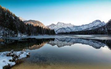 небо, деревья, река, горы, лес, отражение, kurt hinterreither
