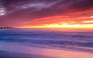 небо, скалы, закат, туман, горизонт, океан