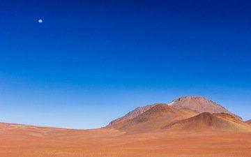 небо, пейзаж, песок, пустыня, луна