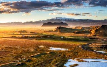 небо, облака, горы, исландия, плато