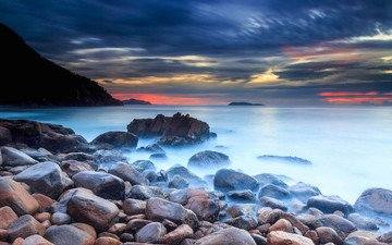 the sky, clouds, rocks, stones, sunset, sea, coast, glow, cloud.