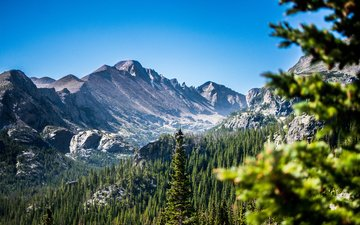 the sky, trees, mountains, nature, forest, landscape, meadow, usa, valley, colorado, mountain range, national park