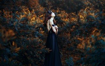 природа, растения, девушка, модель, профиль, черное платье, закрытые глаза, ronny garcia, when my black soul leaves, maria jose weigel
