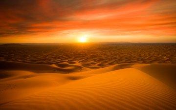 солнце, закат, песок, горизонт, пустыня, дюны, сахара