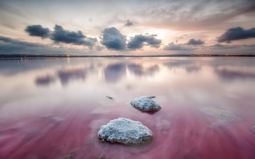 the sky, clouds, lake, stones, reflection, horizon, spain, valencia