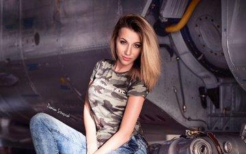 girl, pose, portrait, model, jeans, makeup, t-shirt, brown hair, sandra, damian straszak