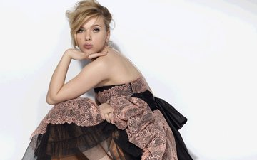 girl, dress, blonde, look, model, face, actress, white background, scarlett johansson