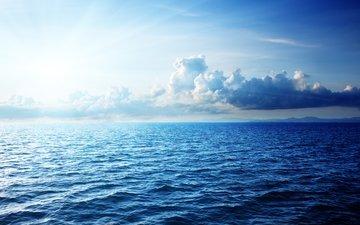 небо, облака, море, горизонт