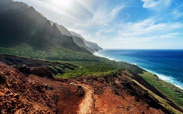 небо, облака, скалы, берег, море, побережье, солнечный день