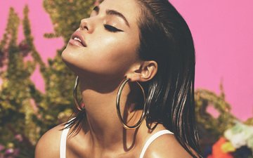 brunette, model, face, actress, singer, makeup, closed eyes, vogue, selena gomez