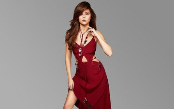 decoration, girl, look, model, hair, face, actress, singer, red dress, selena gomez