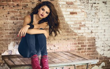 girl, brunette, look, hair, face, actress, singer, makeup, brick wall, manicure, selena gomez