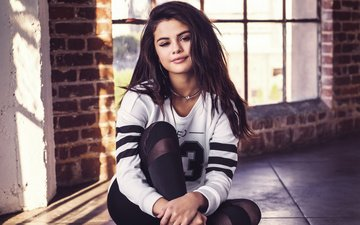 girl, brunette, look, model, sitting, face, actress, adidas, neo, on the floor, selena gomez