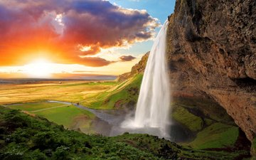 the sky, water, river, mountains, nature, landscape, waterfall, iceland, seljalandsfoss