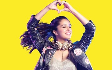 smile, headphones, actress, closed eyes, indian, shraddha kapoor, leather jacket, sraddha kapoor