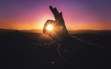 свет, солнце, рука, закат, силуэт, пальцы
