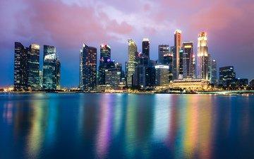 night, lights, the city, singapore