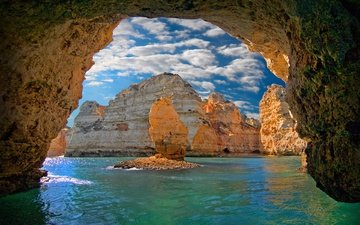 the sky, clouds, water, rocks, nature, landscape, sea, cave, portugal, arch, the grotto, rock, lagos, ponta da piedade