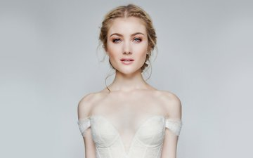 girl, look, hair, face, actress, white dress, neckline, celebrity, bare shoulders, skyler samuels