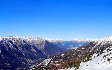 небо, горы, снег, зима, пейзаж