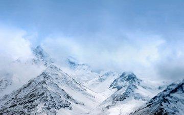 the sky, mountains, snow, nature, fog, alphaz33