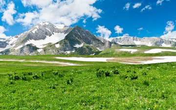 the sky, grass, clouds, mountains, snow, landscape, meadow