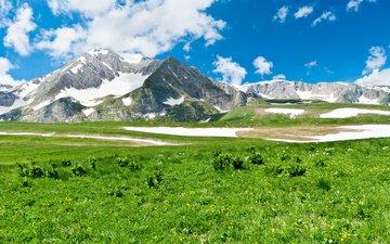небо, трава, облака, горы, снег, пейзаж, луг