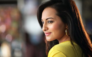 girl, smile, portrait, look, hair, lips, face, actress, indian, sonakshi sinha