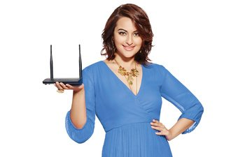 girl, smile, look, hair, face, actress, white background, indian, blue dress, sonakshi sinha