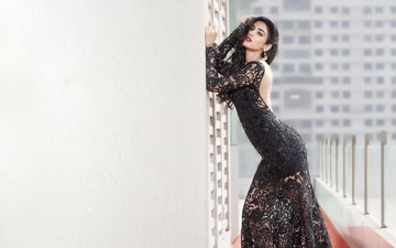 girl, brunette, model, actress, black dress, indian, sonal chauhan