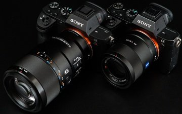 the camera, black background, camera, lens, sony, alpha