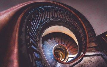 лестница, вид сверху, комната, спираль, пространство, ступени