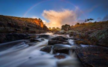 небо, облака, скалы, природа, камни, радуга, поток, речка, stormfront, dylan toh & marianne lim